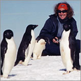 Rachel Hazell with Adelie Penguins